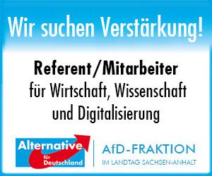 AfD Fraktion Sachsen-Anhalt Stellenanzeige Referent